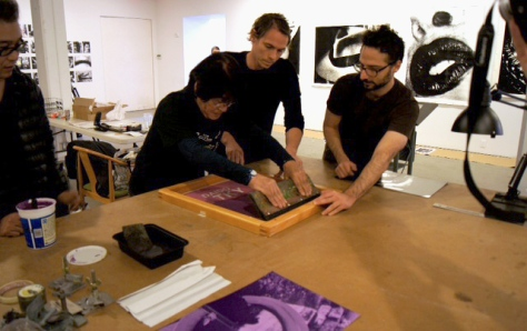 Screen printing the cover, Printing Show, Daido Moriyama, New York (2011)