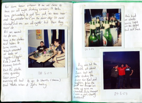 all night drinking, Diary detail (2003)