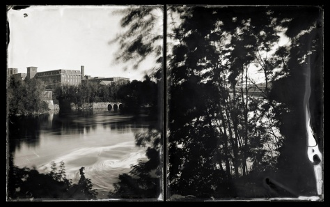 View of Bates Mill from Auburn (diptych), A River Lost and Found: The Androscoggin in Time and Place (2011)