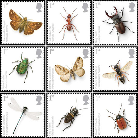 Endangered insects postage stamps, the Royal Mail printing these even as they're building a new distribution depot at West Thurrock which will destroy natural habitats. top: Silver-spotted Skipper, Red Barbed Ant, Stag Beetle. centre: Noble Chafer Beetle, Barberry Carpet Moth, Purbeck Mason Wasp. bottom: Southern Damselfly, Field Cricket, Hazel Pot Beetle.